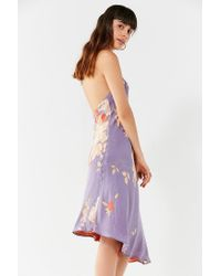 Urban Outfitters - Purple Uo Blooming Asymmetrical Hem Midi Dress - Lyst