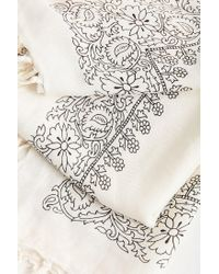 Urban Outfitters - White Floral Tassel Scarf - Lyst