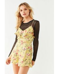 Urban Outfitters - Yellow Uo Sateen Ruffle Romper - Lyst