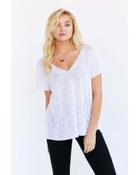 Project Social T | White Textured-knit V-neck Tee | Lyst