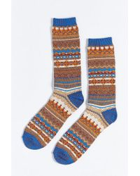 Urban Outfitters - Brown Lightweight Fair Isle Crew Sock for Men - Lyst