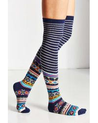 Urban Outfitters - Multicolor Winter Fair Isle Over-the-knee Sock - Lyst