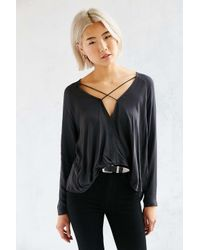 Silence + Noise | Black Mayfair Plunge Surplice Top | Lyst