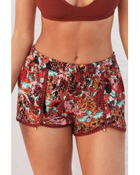 Ecote - Red Dylan Printed Dolphin Short - Lyst