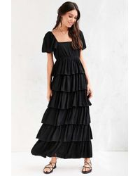 Patrons Of Peace - Black Tiered Ruffle Maxi Dress - Lyst