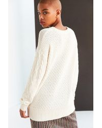 BDG - White Cable High/low Crew Neck Sweater - Lyst