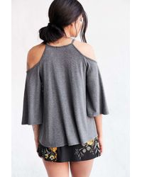 Silence + Noise | Gray Sofia Cold Shoulder Top | Lyst