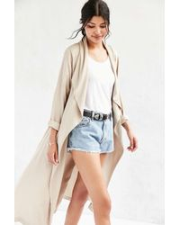 Silence + Noise | Natural Drapey Midi Duster Coat | Lyst