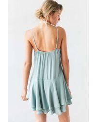 Kimchi Blue - Blue Tiered Drop Waist Mini Dress - Lyst
