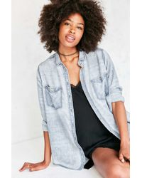 BDG | Blue Nelly Plaid Button-down Shirt | Lyst