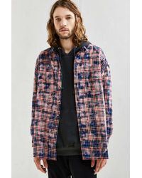 Urban Outfitters | Blue Uo Bleached Out Drop Shoulder Flannel Button-down Shirt for Men | Lyst