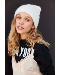 Urban Outfitters | White Slouchy Fuzz Ribbed Beanie | Lyst