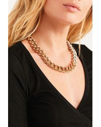 Urban Outfitters - Yellow Chunky Curb Chain Short Necklace - Lyst