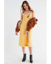 da9e11f53b Urban Outfitters. Uo Amber Yellow Linen Button-through Midi Dress - Womens M