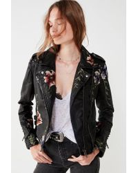 Blank NYC Black As You Wish Floral Embroidered Moto Jacket