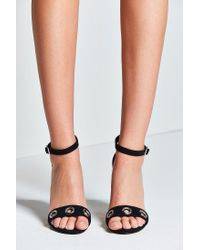 645171d6e55 Lyst - Urban Outfitters Thin Ankle Strap Grommet Heel in Black