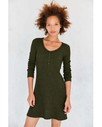 BDG | Green Samual Cozy Henley Long-sleeve Mini Dress | Lyst