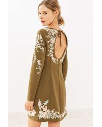 Kimchi Blue | Brown Sakura Embroidered Frock Mini Dress | Lyst