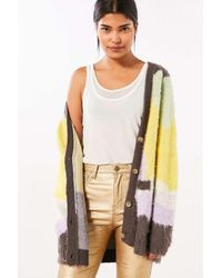 Ecote | Purple Gigi Cozy Brushed Colorblock Cardigan | Lyst