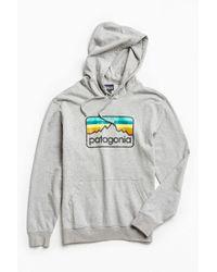 Patagonia | Gray Line Logo Hoodie Sweatshirt for Men | Lyst