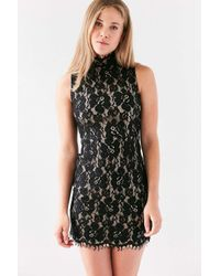 Oh My Love - Black Brianna Lace Mock Neck Mini Dress - Lyst
