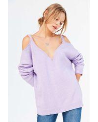Kimchi Blue | Black Kia Deep-v Cold Shoulder Sweater | Lyst