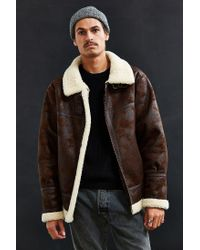 dc92aed17 Lyst - Urban Outfitters Uo Faux Shearling B-3 Bomber Jacket in Brown ...