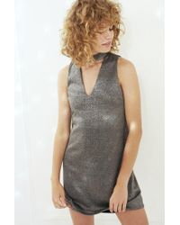 Silence + Noise | Metallic Shimmer Cutout Mock Neck Mini Dress | Lyst