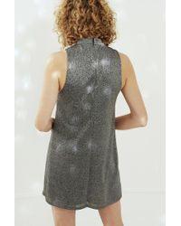 Silence + Noise | Metallic Shimmer Cutout Mock Neck Mini Dress | Lyst