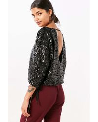 Silence + Noise   Black Donna Sequin Boat-neck Top   Lyst