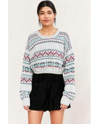 Urban Renewal | Gray Remade Cropped Fair Isle Sweater | Lyst