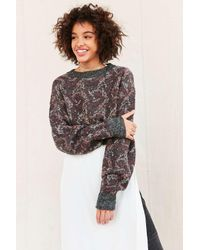 Urban Renewal | Gray Remade Cropped Printed Sweater | Lyst