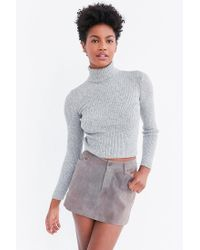BDG - Gray Cassandra Ribbed Turtle Neck Sweater - Lyst