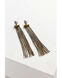Urban Outfitters | Metallic Faye Fringe Front/back Earring | Lyst