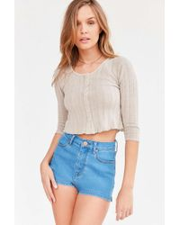 Kimchi Blue | Gray Maisy Button-front Thermal Cropped Top | Lyst