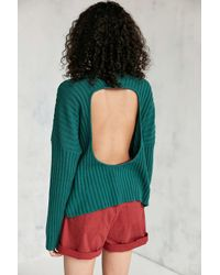 Silence + Noise | Green Hunter Cutout Mock Neck Sweater | Lyst