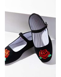 Urban Outfitters | Black Embroidered Rose Mary Jane Flat | Lyst