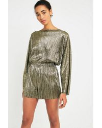 f0a401a598f Urban Outfitters Pins   Needles Metallic Plisse Playsuit in Metallic ...