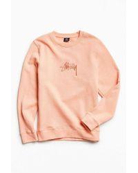 Stussy   Pink New Stock Crew Neck Sweatshirt for Men   Lyst