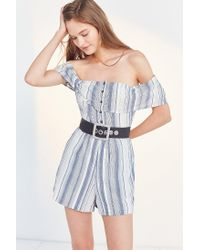 Ecote - Blue Gauzy Off-the-shoulder Romper - Lyst