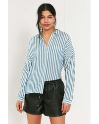 BDG | Blue Twill Striped Button-down Shirt | Lyst