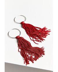 Urban Outfitters - Red Cordelia Tassel Hoop Earring - Lyst