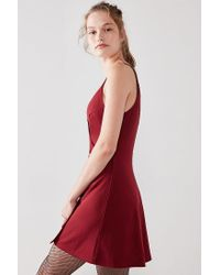 Silence + Noise - Red Button-down Surplice Mini Dress - Lyst