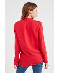 Silence + Noise - Red Tie-front Button-down Top - Lyst