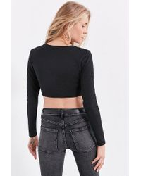 Silence + Noise - Black O-ring Long Sleeve Cropped Top - Lyst