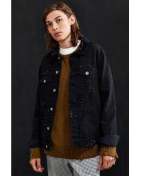 Urban Outfitters - Black Uo Damaged Denim Trucker Jacket for Men - Lyst