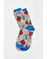 Urban Outfitters - Gray Lucky Cat Sock for Men - Lyst