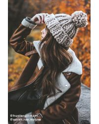 Urban Outfitters | Brown Chunky Knit Pompom Beanie | Lyst