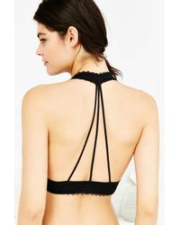 Urban Outfitters | Black Strappy Back Lace Halter Neck Bra | Lyst