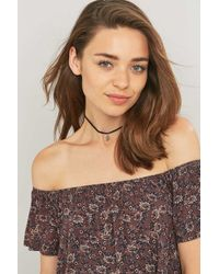 Urban Outfitters - Gray Black Leather And Crystal Pendant Choker - Lyst
